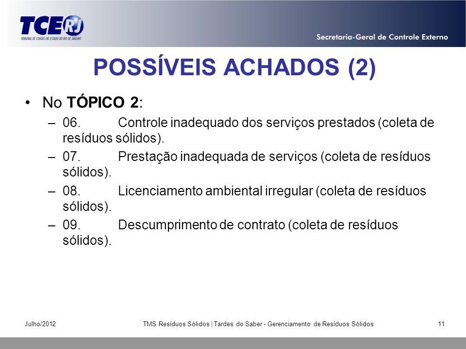 POSSÍVEIS ACHADOS (2) No TÓPICO 2: –06.Controle inadequado dos serviços prestados (coleta de resíduos sólidos). –07.Prestação inadequada de serviços (