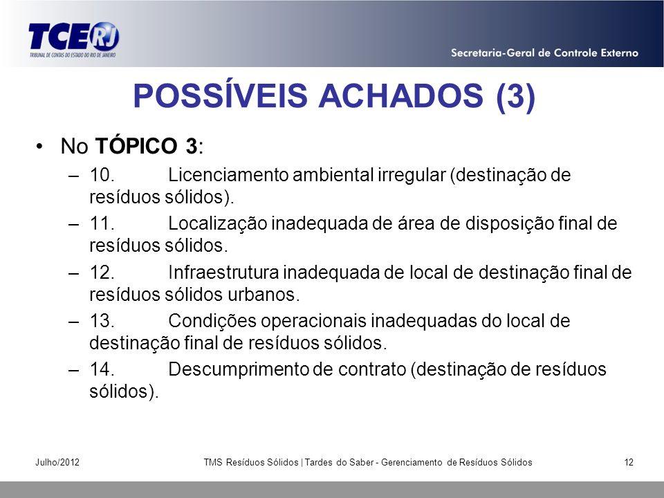 POSSÍVEIS ACHADOS (3) No TÓPICO 3: –10.Licenciamento ambiental irregular (destinação de resíduos sólidos). –11.Localização inadequada de área de dispo