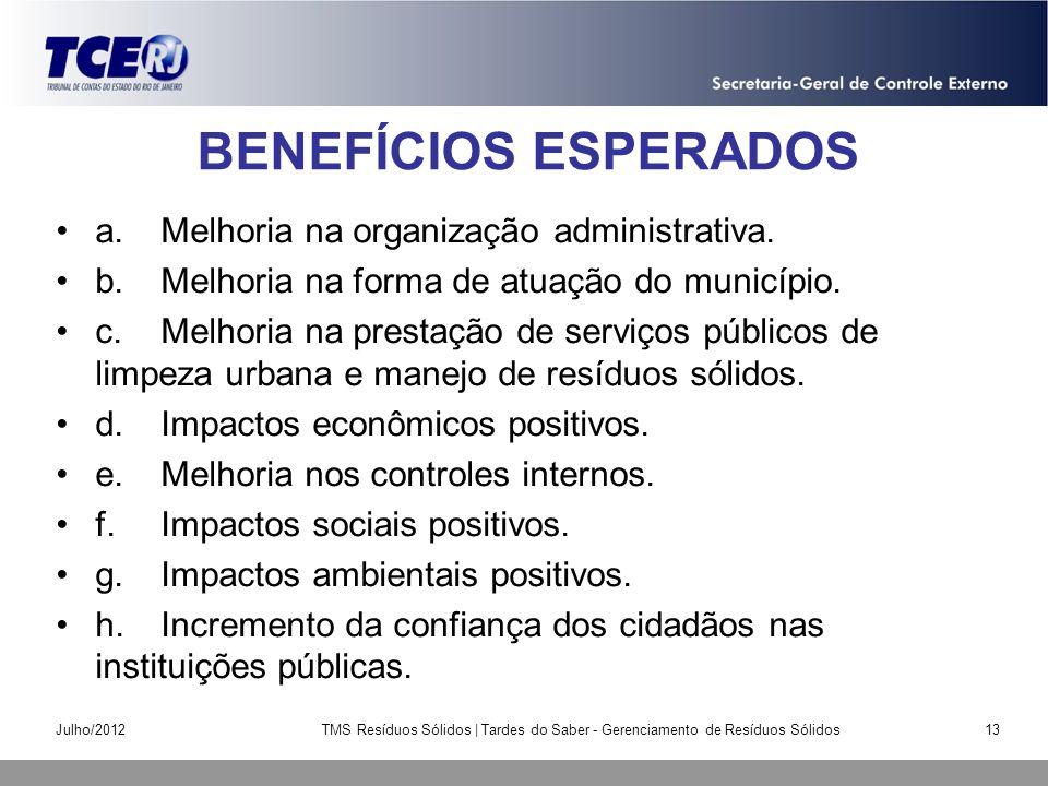 BENEFÍCIOS ESPERADOS a.Melhoria na organização administrativa. b.Melhoria na forma de atuação do município. c.Melhoria na prestação de serviços públic