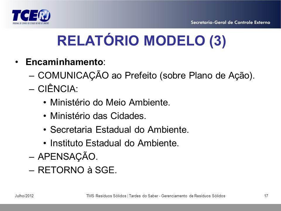 RELATÓRIO MODELO (3) Encaminhamento: –COMUNICAÇÃO ao Prefeito (sobre Plano de Ação). –CIÊNCIA: Ministério do Meio Ambiente. Ministério das Cidades. Se