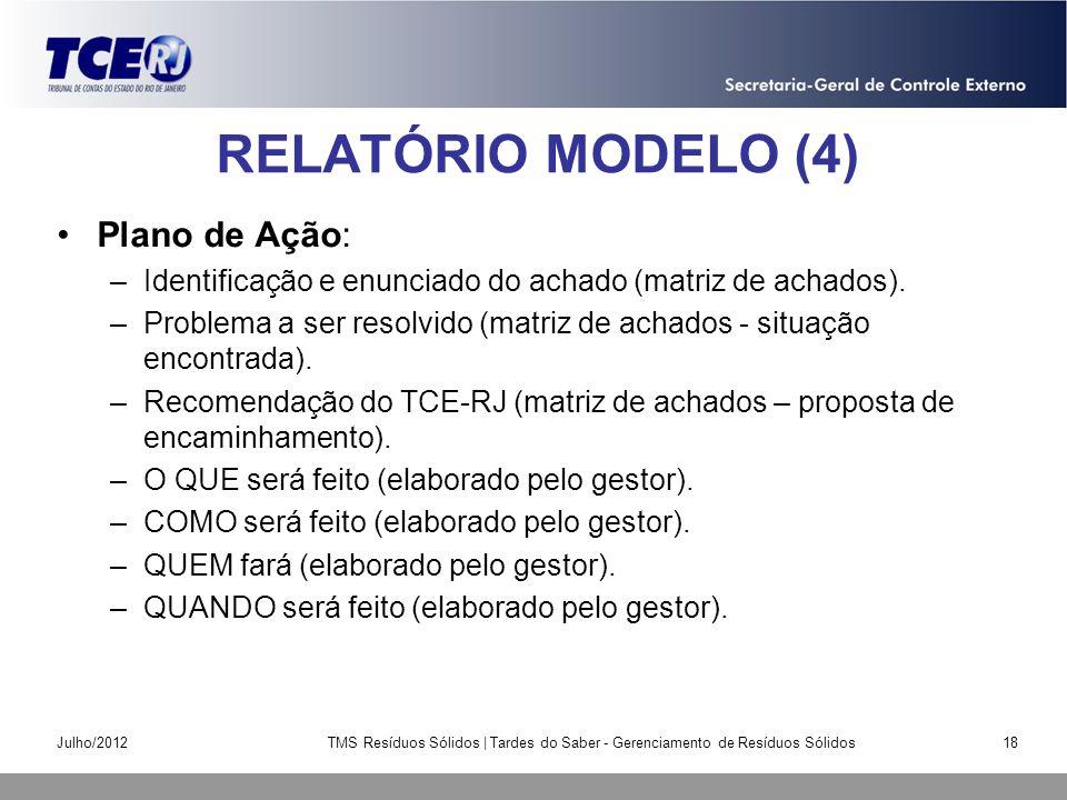 RELATÓRIO MODELO (4) Plano de Ação: –Identificação e enunciado do achado (matriz de achados). –Problema a ser resolvido (matriz de achados - situação