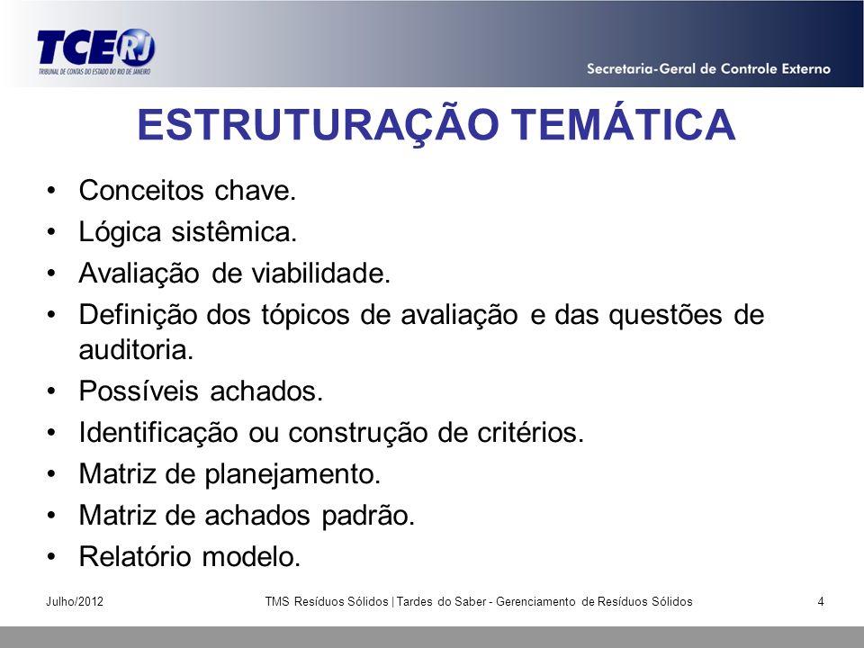 ESTRUTURAÇÃO TEMÁTICA Conceitos chave. Lógica sistêmica. Avaliação de viabilidade. Definição dos tópicos de avaliação e das questões de auditoria. Pos