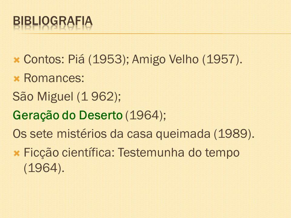 Contos: Piá (1953); Amigo Velho (1957). Romances: São Miguel (1 962); Geração do Deserto (1964); Os sete mistérios da casa queimada (1989). Ficção cie