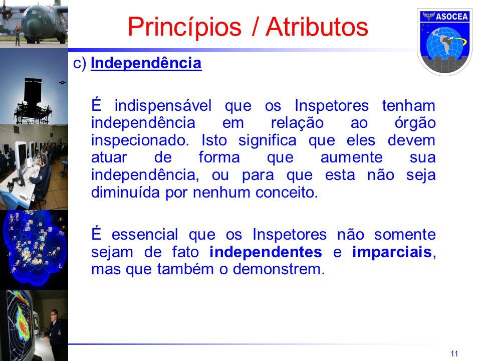 11 c) Independência É indispensável que os Inspetores tenham independência em relação ao órgão inspecionado. Isto significa que eles devem atuar de fo
