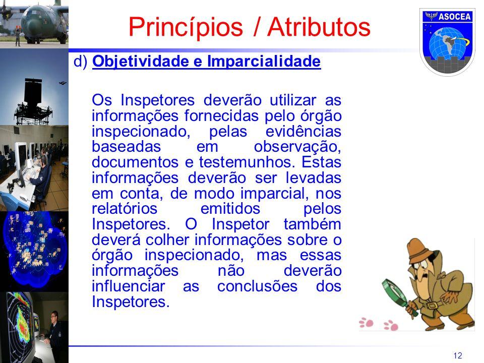 12 d) Objetividade e Imparcialidade Os Inspetores deverão utilizar as informações fornecidas pelo órgão inspecionado, pelas evidências baseadas em obs