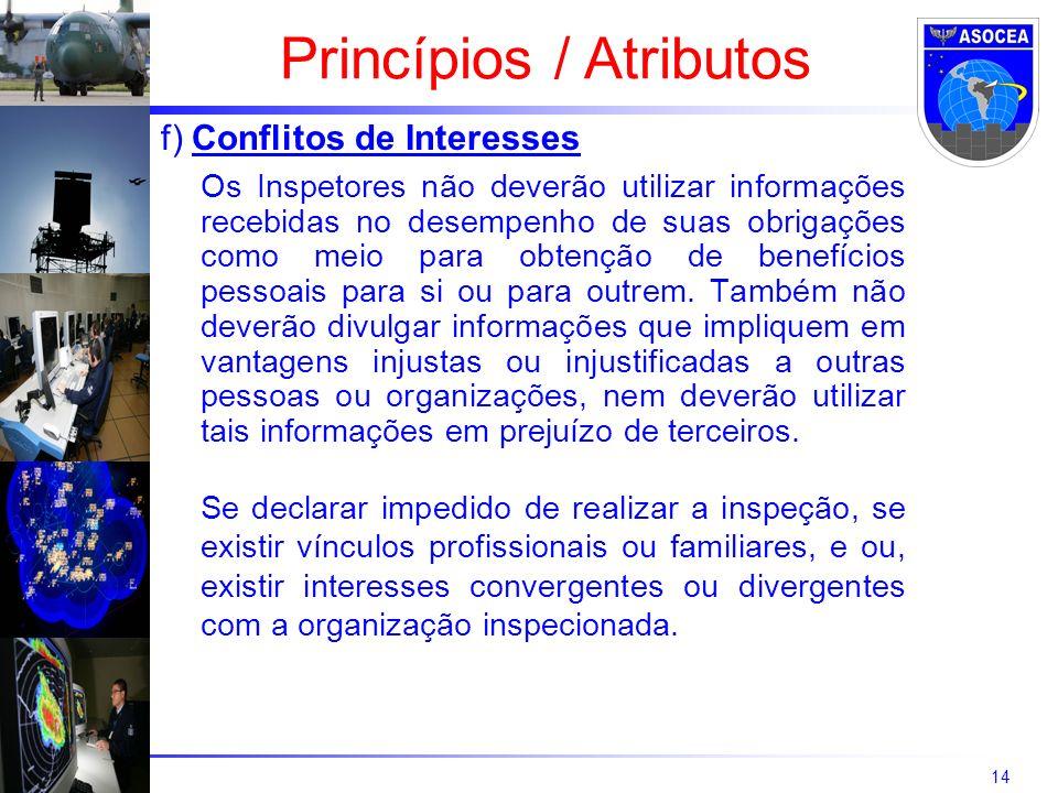 14 f) Conflitos de Interesses Os Inspetores não deverão utilizar informações recebidas no desempenho de suas obrigações como meio para obtenção de ben