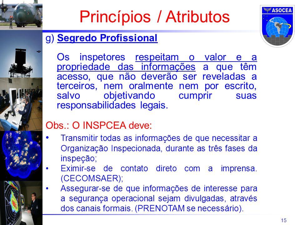 15 g) Segredo Profissional Os inspetores respeitam o valor e a propriedade das informações a que têm acesso, que não deverão ser reveladas a terceiros