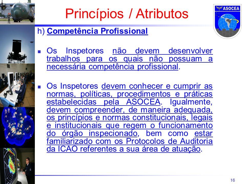 16 h) Competência Profissional Os Inspetores não devem desenvolver trabalhos para os quais não possuam a necessária competência profissional. Os Inspe