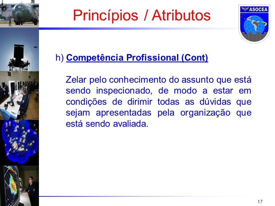 17 h) Competência Profissional (Cont) Zelar pelo conhecimento do assunto que está sendo inspecionado, de modo a estar em condições de dirimir todas as