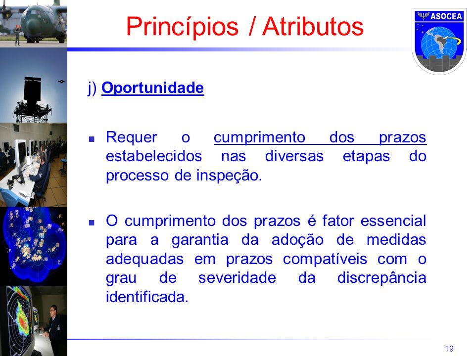 19 j) Oportunidade Requer o cumprimento dos prazos estabelecidos nas diversas etapas do processo de inspeção. O cumprimento dos prazos é fator essenci