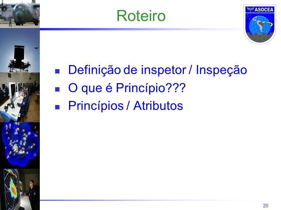 20 Roteiro Definição de inspetor / Inspeção O que é Princípio??? Princípios / Atributos