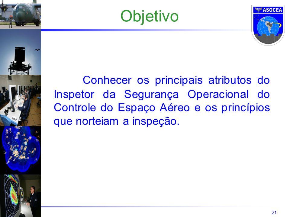 21 Objetivo Conhecer os principais atributos do Inspetor da Segurança Operacional do Controle do Espaço Aéreo e os princípios que norteiam a inspeção.