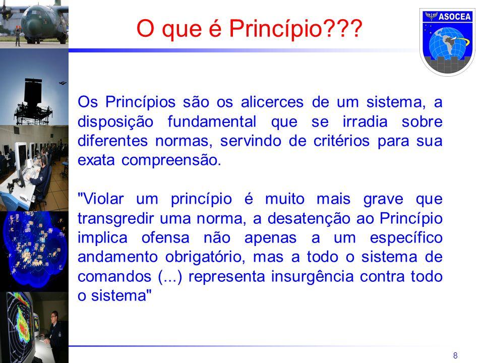 8 O que é Princípio??? Os Princípios são os alicerces de um sistema, a disposição fundamental que se irradia sobre diferentes normas, servindo de crit
