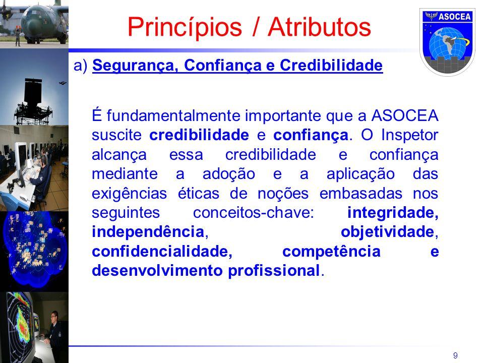 9 a) Segurança, Confiança e Credibilidade É fundamentalmente importante que a ASOCEA suscite credibilidade e confiança. O Inspetor alcança essa credib