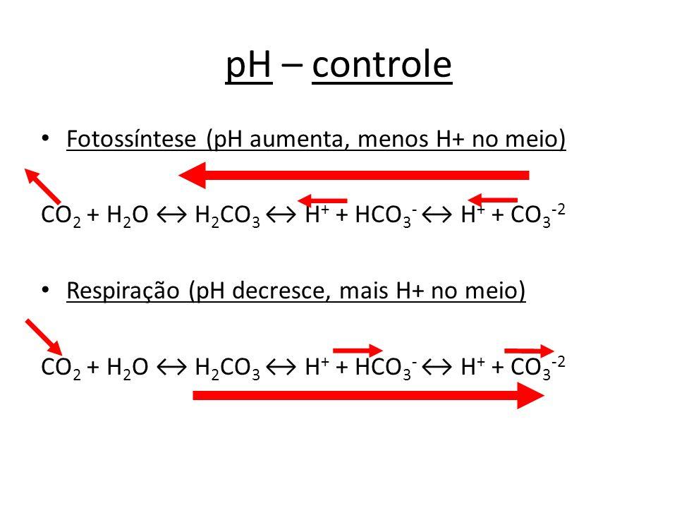 pH – controle Fotossíntese (pH aumenta, menos H+ no meio) CO 2 + H 2 O H 2 CO 3 H + + HCO 3 - H + + CO 3 -2 Respiração (pH decresce, mais H+ no meio)