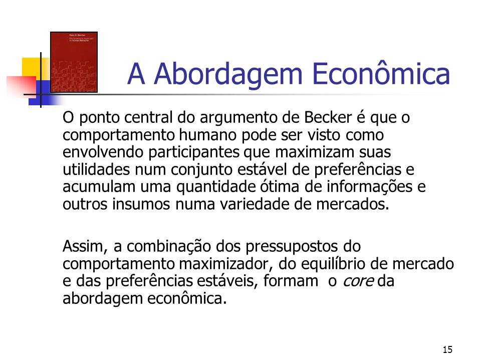 15 A Abordagem Econômica O ponto central do argumento de Becker é que o comportamento humano pode ser visto como envolvendo participantes que maximiza