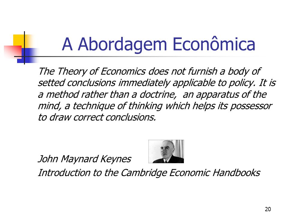 20 A Abordagem Econômica The Theory of Economics does not furnish a body of setted conclusions immediately applicable to policy. It is a method rather