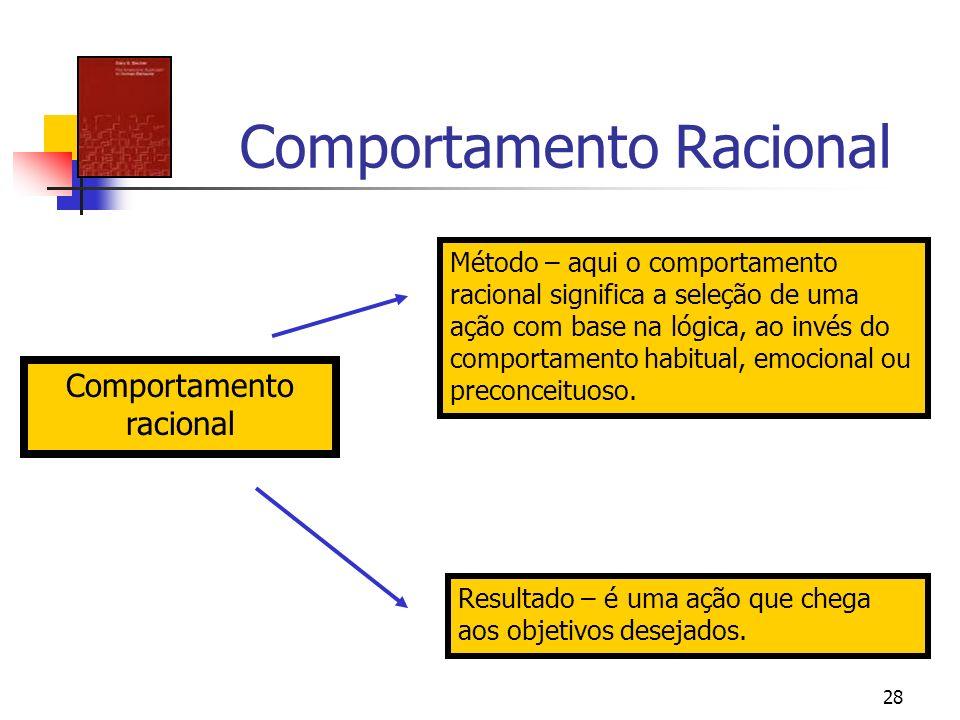 28 Comportamento Racional Comportamento racional Método – aqui o comportamento racional significa a seleção de uma ação com base na lógica, ao invés d