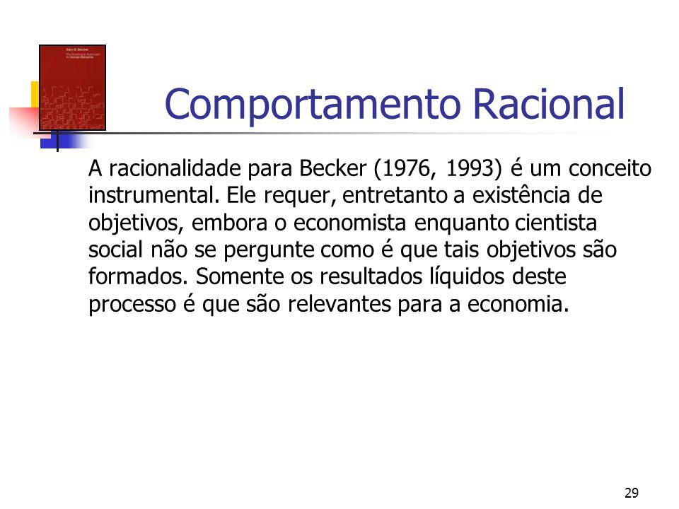 29 Comportamento Racional A racionalidade para Becker (1976, 1993) é um conceito instrumental. Ele requer, entretanto a existência de objetivos, embor