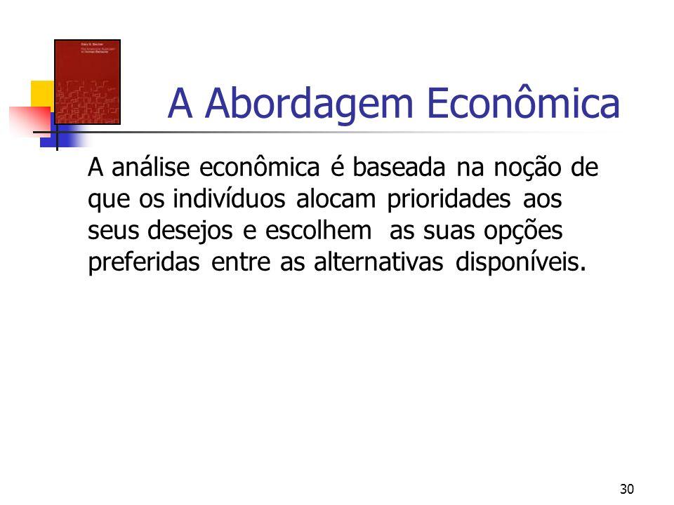 30 A Abordagem Econômica A análise econômica é baseada na noção de que os indivíduos alocam prioridades aos seus desejos e escolhem as suas opções pre
