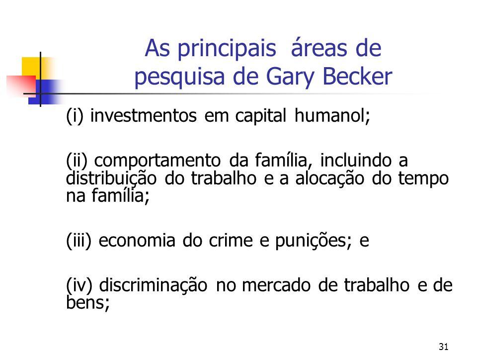 31 As principais áreas de pesquisa de Gary Becker (i) investmentos em capital humanol; (ii) comportamento da família, incluindo a distribuição do trab