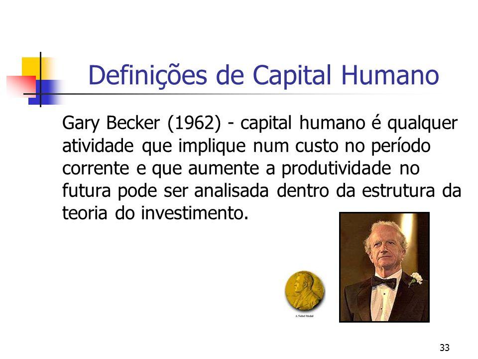 33 Definições de Capital Humano Gary Becker (1962) - capital humano é qualquer atividade que implique num custo no período corrente e que aumente a pr