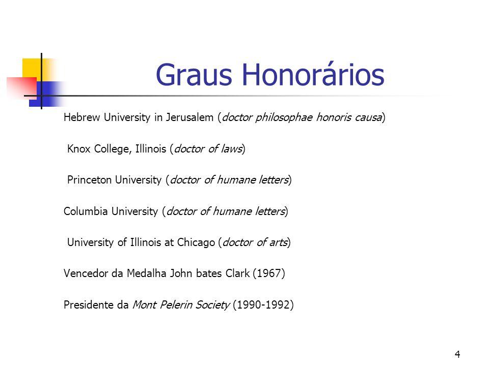 4 Graus Honorários Hebrew University in Jerusalem (doctor philosophae honoris causa) Knox College, Illinois (doctor of laws) Princeton University (doc