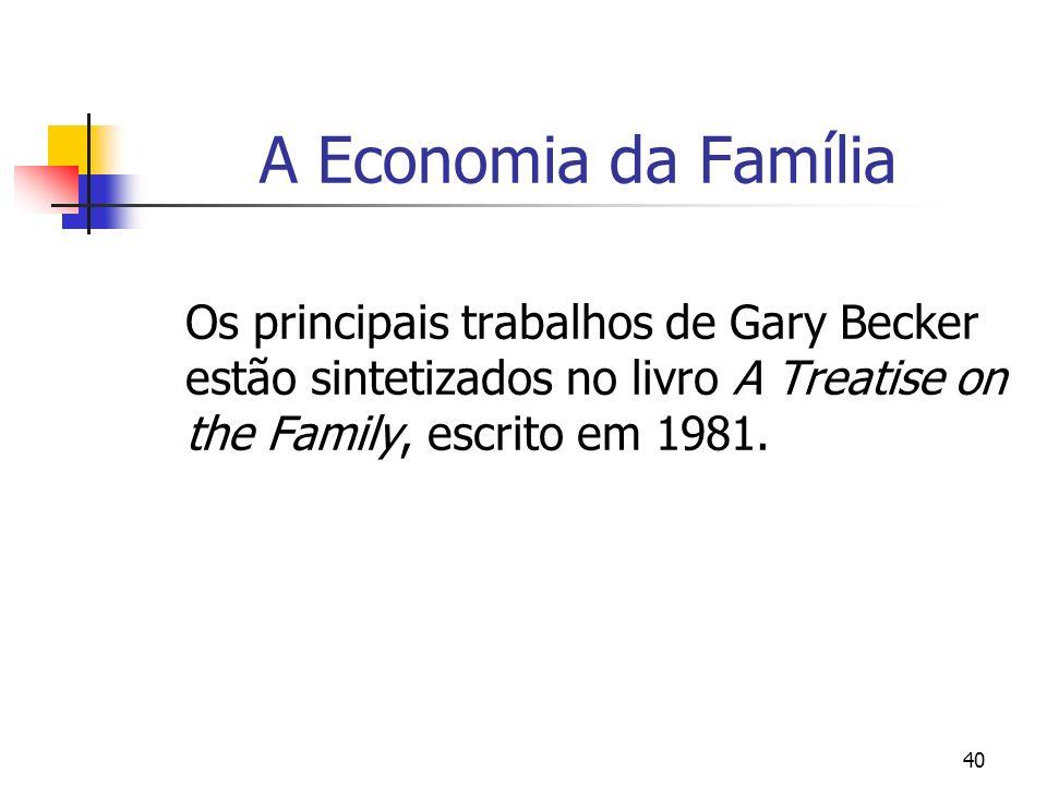 40 A Economia da Família Os principais trabalhos de Gary Becker estão sintetizados no livro A Treatise on the Family, escrito em 1981.