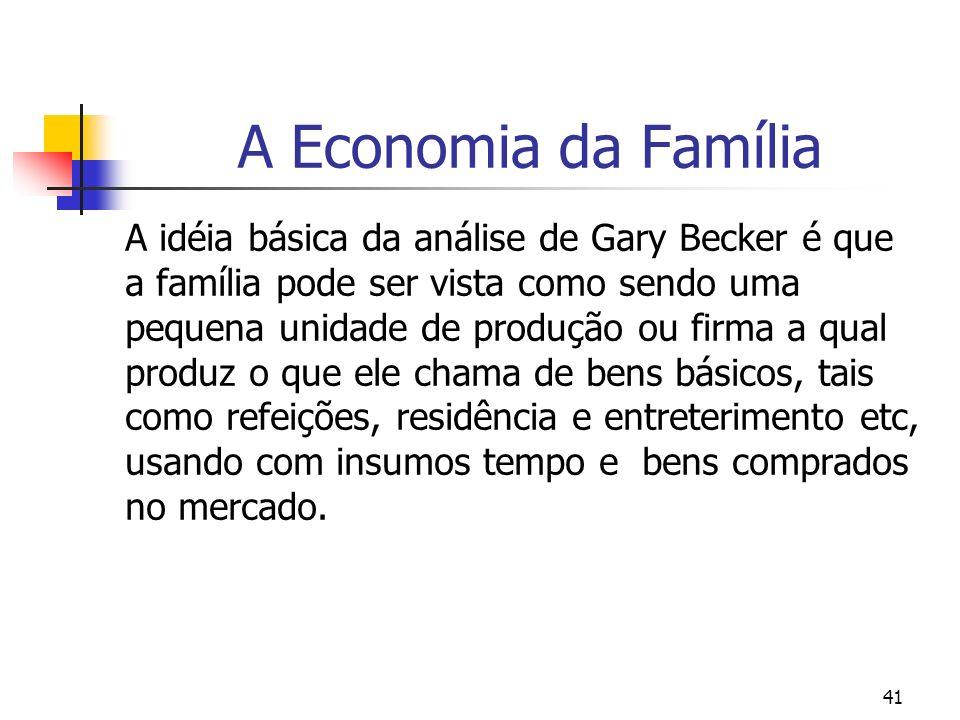 41 A Economia da Família A idéia básica da análise de Gary Becker é que a família pode ser vista como sendo uma pequena unidade de produção ou firma a