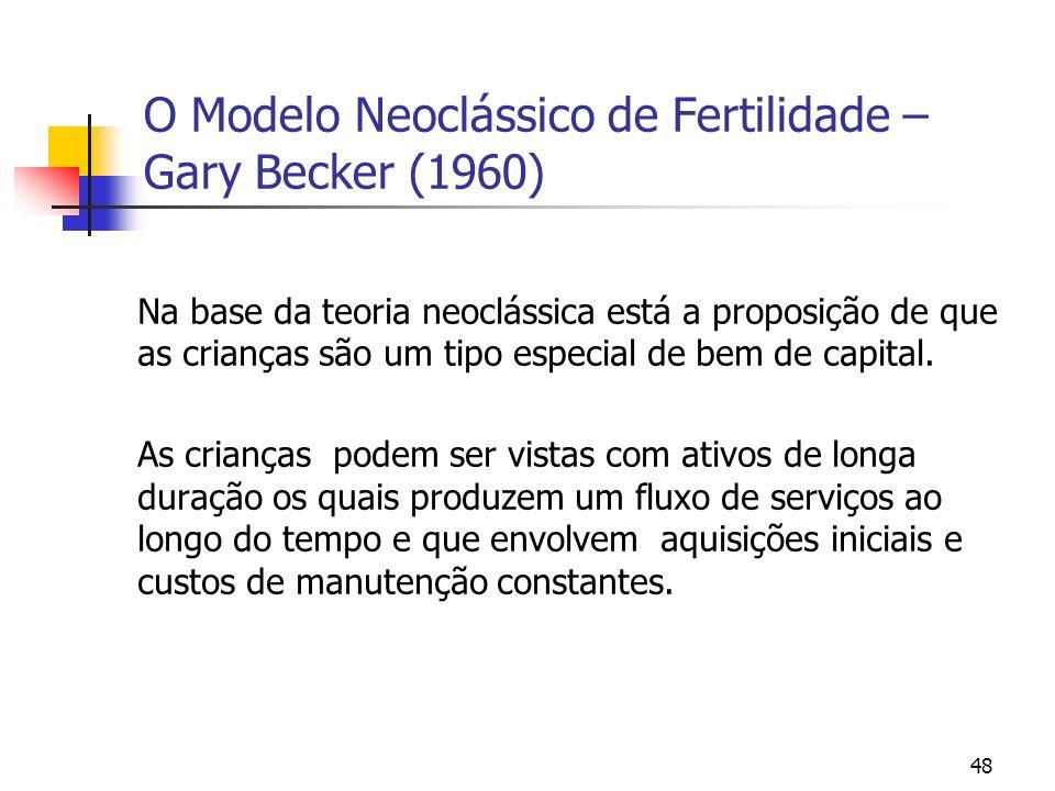 48 O Modelo Neoclássico de Fertilidade – Gary Becker (1960) Na base da teoria neoclássica está a proposição de que as crianças são um tipo especial de