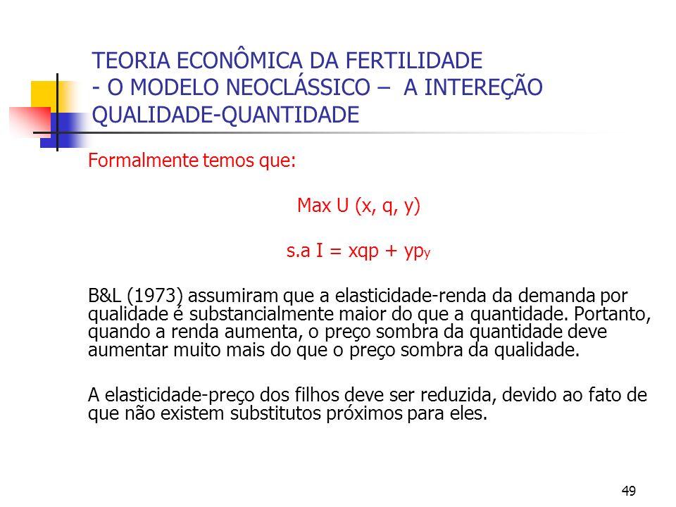 49 TEORIA ECONÔMICA DA FERTILIDADE - O MODELO NEOCLÁSSICO – A INTEREÇÃO QUALIDADE-QUANTIDADE Formalmente temos que: Max U (x, q, y) s.a I = xqp + yp y