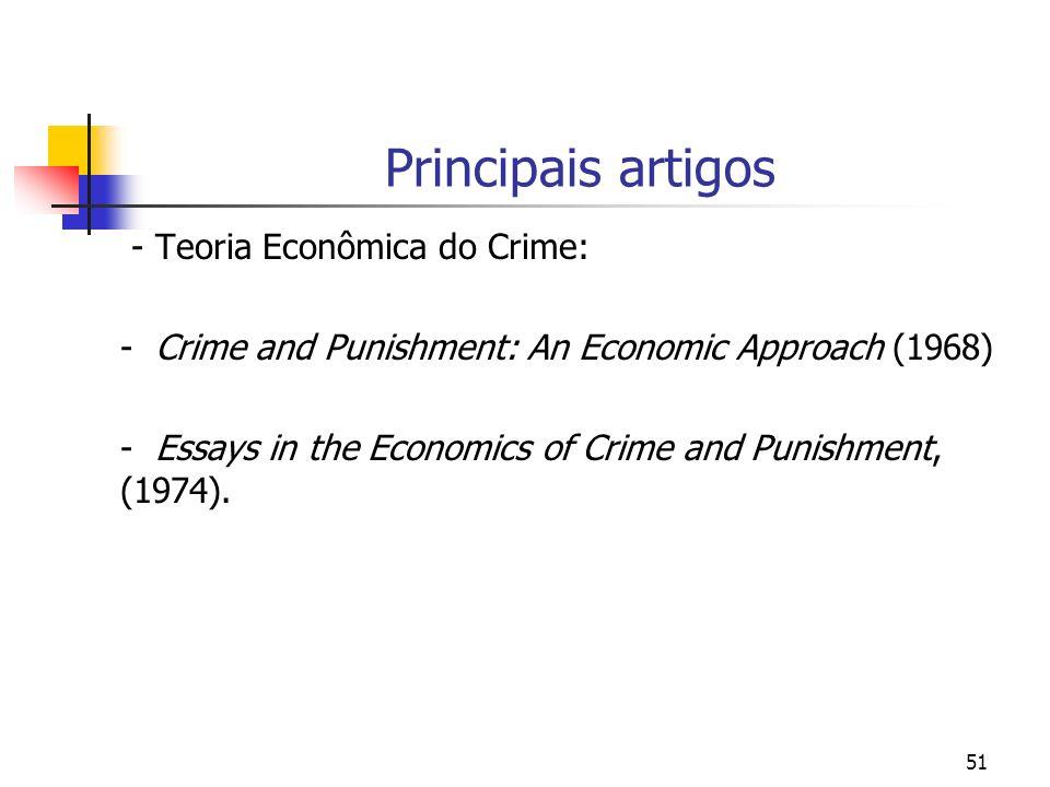 51 Principais artigos - Teoria Econômica do Crime: - Crime and Punishment: An Economic Approach (1968) - Essays in the Economics of Crime and Punishme