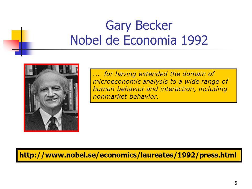 7 A Contribuição de Gary Becker A contribuição de Gary Becker consistiu em estender o domínio da teoria econômica a aspectos do comportamento humano os quais haviam sido previamente tratados quase que exclusivamente por outras ciências sociais – tais como a sociologia, demografia, criminologia.