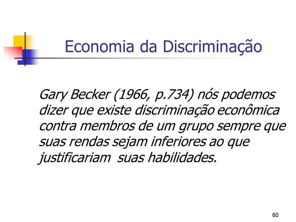 60 Economia da Discriminação Gary Becker (1966, p.734) nós podemos dizer que existe discriminação econômica contra membros de um grupo sempre que suas