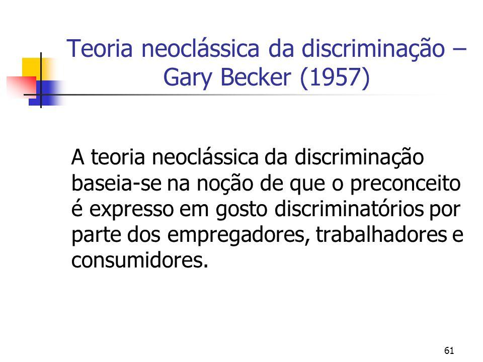 61 Teoria neoclássica da discriminação – Gary Becker (1957) A teoria neoclássica da discriminação baseia-se na noção de que o preconceito é expresso e