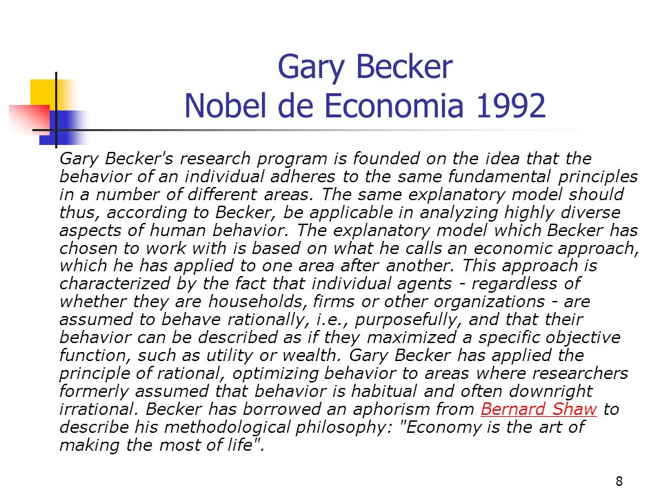59 A Economia da Discriminação Another example of Becker s unconventional application of the theory of rational, optimizing behavior is his analysis of discrimination on the basis of race, sex, etc.