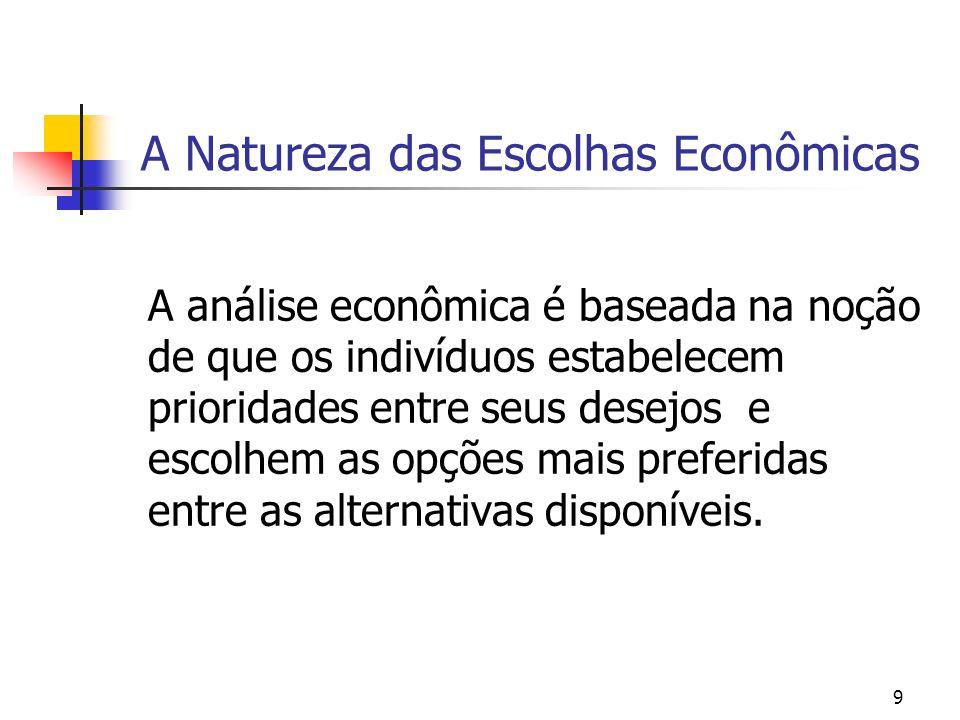 9 A Natureza das Escolhas Econômicas A análise econômica é baseada na noção de que os indivíduos estabelecem prioridades entre seus desejos e escolhem