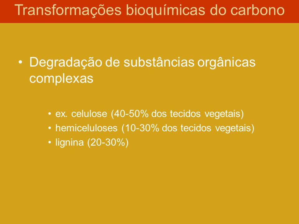 Degradação de substâncias orgânicas complexas ex. celulose (40-50% dos tecidos vegetais) hemiceluloses (10-30% dos tecidos vegetais) lignina (20-30%)