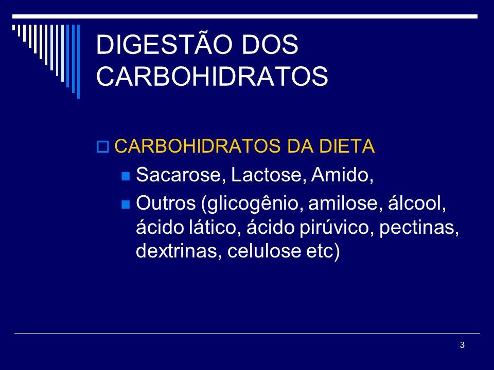 3 DIGESTÃO DOS CARBOHIDRATOS CARBOHIDRATOS DA DIETA Sacarose, Lactose, Amido, Outros (glicogênio, amilose, álcool, ácido lático, ácido pirúvico, pecti