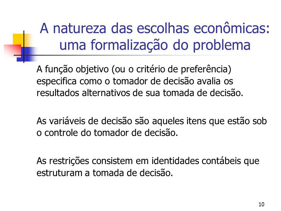 10 A natureza das escolhas econômicas: uma formalização do problema A função objetivo (ou o critério de preferência) especifica como o tomador de deci