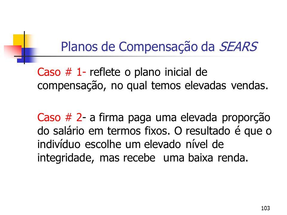 103 Planos de Compensação da SEARS Caso # 1- reflete o plano inicial de compensação, no qual temos elevadas vendas. Caso # 2- a firma paga uma elevada