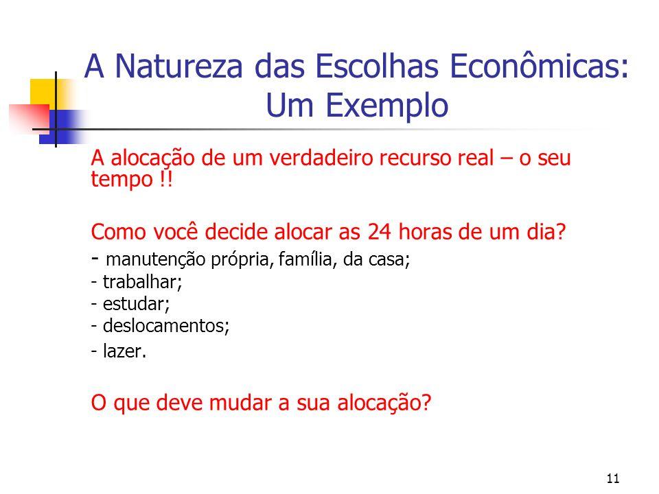 11 A Natureza das Escolhas Econômicas: Um Exemplo A alocação de um verdadeiro recurso real – o seu tempo !! Como você decide alocar as 24 horas de um