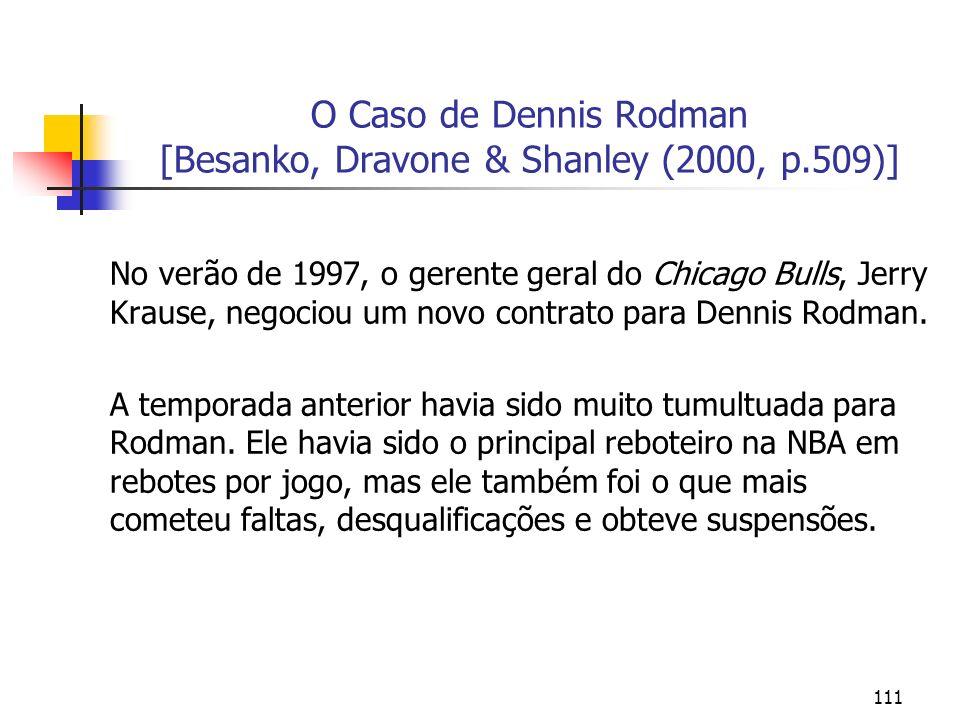 111 O Caso de Dennis Rodman [Besanko, Dravone & Shanley (2000, p.509)] No verão de 1997, o gerente geral do Chicago Bulls, Jerry Krause, negociou um n