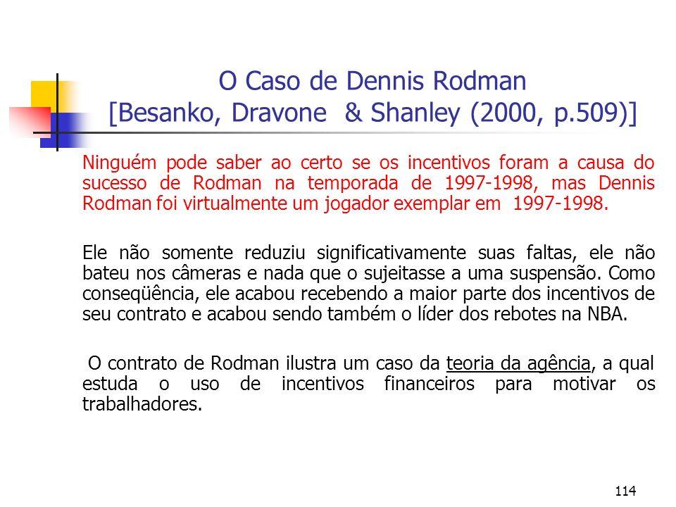 114 O Caso de Dennis Rodman [Besanko, Dravone & Shanley (2000, p.509)] Ninguém pode saber ao certo se os incentivos foram a causa do sucesso de Rodman