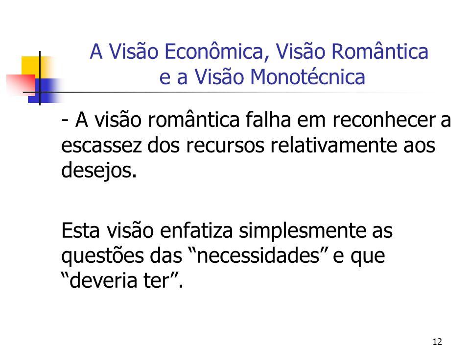 12 A Visão Econômica, Visão Romântica e a Visão Monotécnica - A visão romântica falha em reconhecer a escassez dos recursos relativamente aos desejos.
