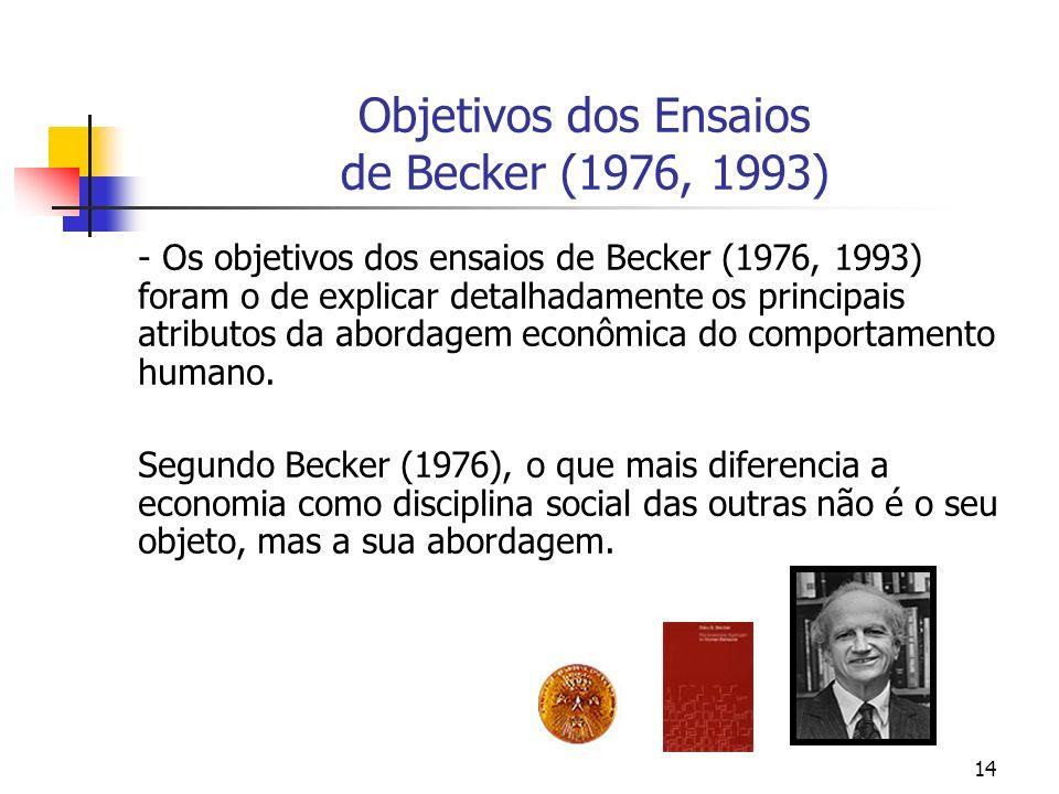 14 Objetivos dos Ensaios de Becker (1976, 1993) - Os objetivos dos ensaios de Becker (1976, 1993) foram o de explicar detalhadamente os principais atr