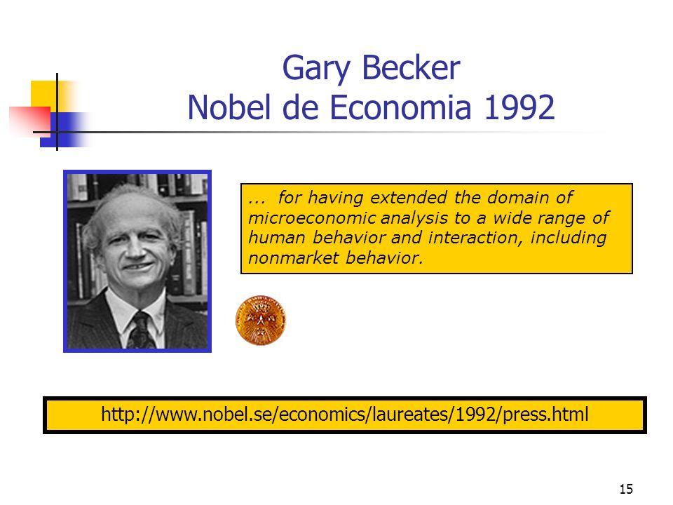 15 Gary Becker Nobel de Economia 1992 http://www.nobel.se/economics/laureates/1992/press.html... for having extended the domain of microeconomic analy