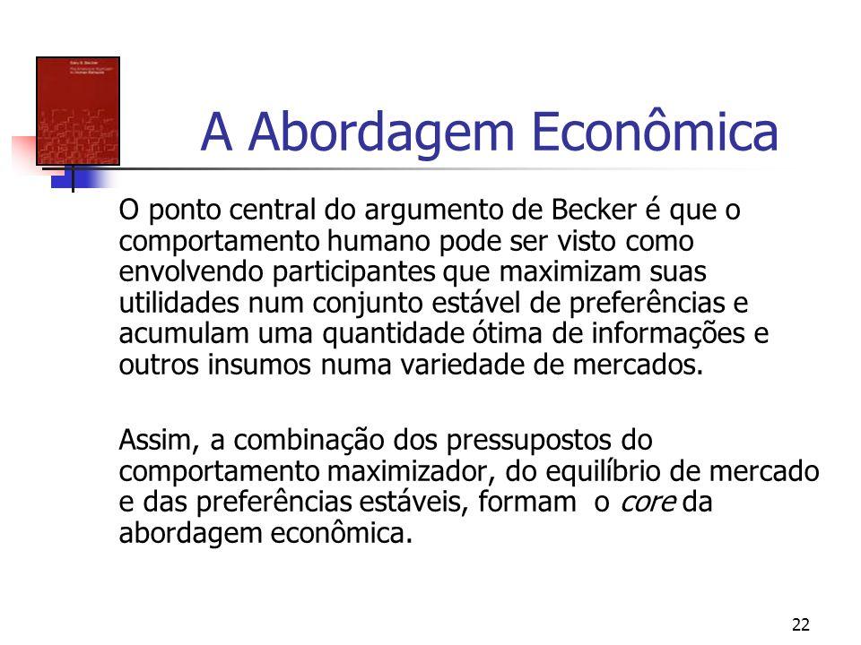 22 A Abordagem Econômica O ponto central do argumento de Becker é que o comportamento humano pode ser visto como envolvendo participantes que maximiza