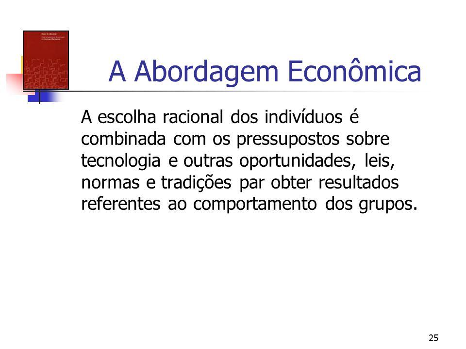 25 A Abordagem Econômica A escolha racional dos indivíduos é combinada com os pressupostos sobre tecnologia e outras oportunidades, leis, normas e tra