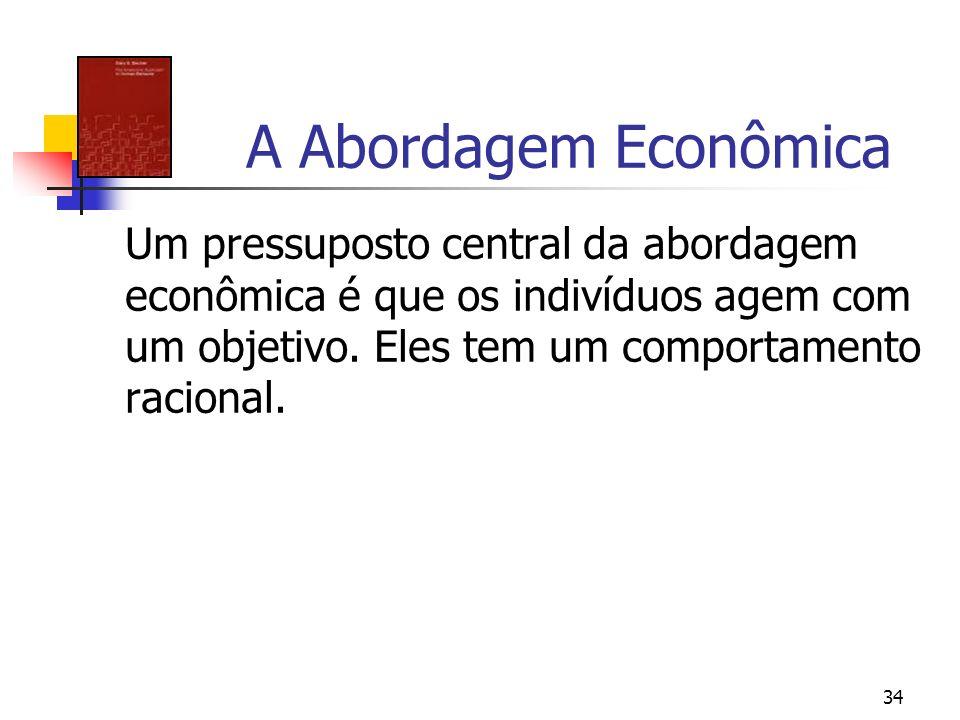 34 A Abordagem Econômica Um pressuposto central da abordagem econômica é que os indivíduos agem com um objetivo. Eles tem um comportamento racional.